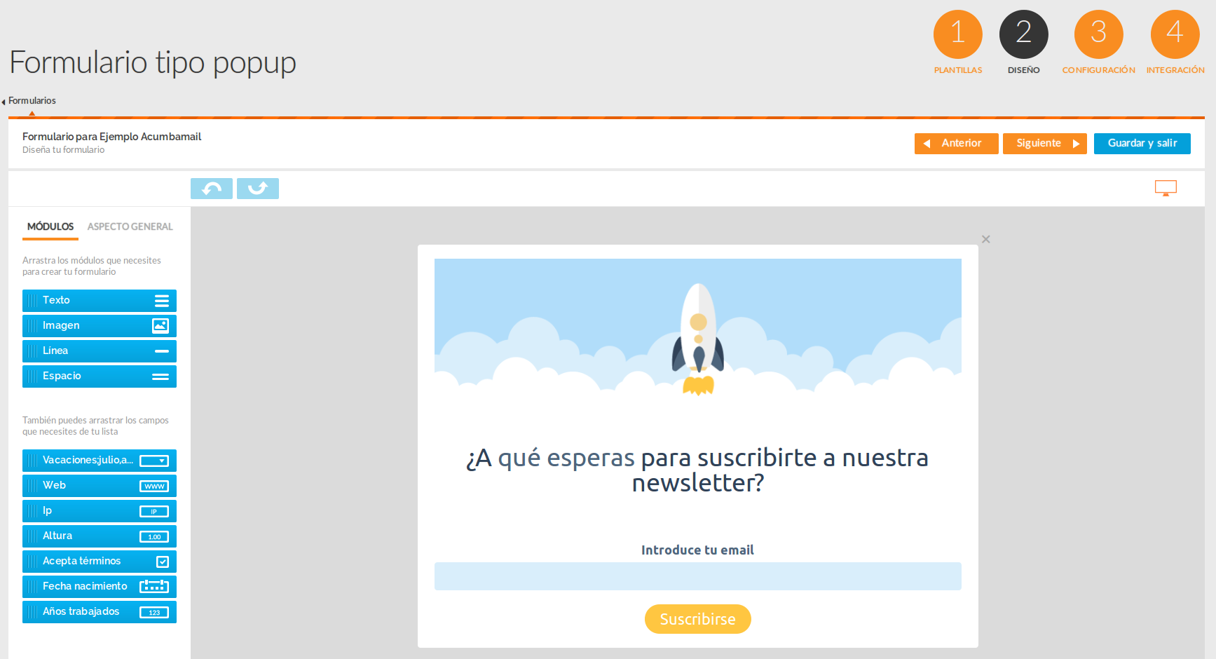 Editar un formulario de email marketing